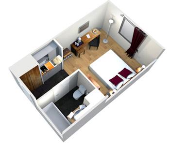 Chambre d'hôtel à Bordeaux - Studio Lits Jumeaux Victoria Garden - Plan 3d