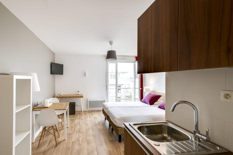 Appart'hôtel à Pau - Kitchenette Studio Supérieur lit jumeaux Victoria Garden
