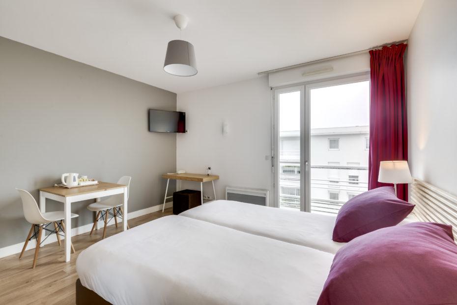Appart'hôtel à Pau - Chambre Studio Supérieur lit jumeaux Victoria Garden