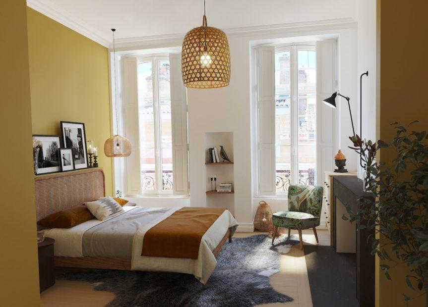 Chambre jaune - La Maison Manège Victoria Garden Bordeaux